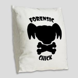 Forensics Chick Burlap Throw Pillow