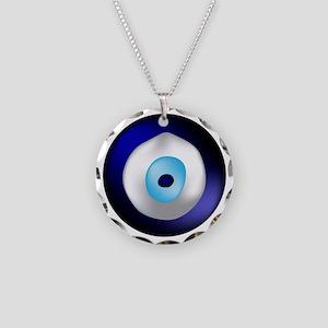 Evil Eye Necklace Circle Charm