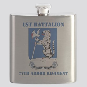 DUI - 77th armor rgt with text Flask