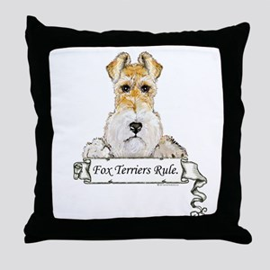 Fox Terriers Rule Throw Pillow