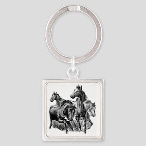 4 Horse Illustration Square Keychain
