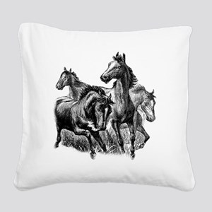 4 Horse Illustration Square Canvas Pillow