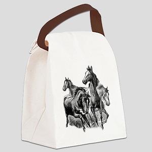 4 Horse Illustration Canvas Lunch Bag