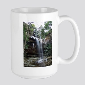 Winter waterfall Hocking Hills Large Mug