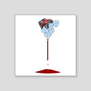 """On Rocks Martini WHITE Square Sticker 3"""" x 3"""""""