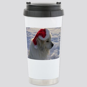 Great Pyrenees with Santa Hat Stainless Steel Trav