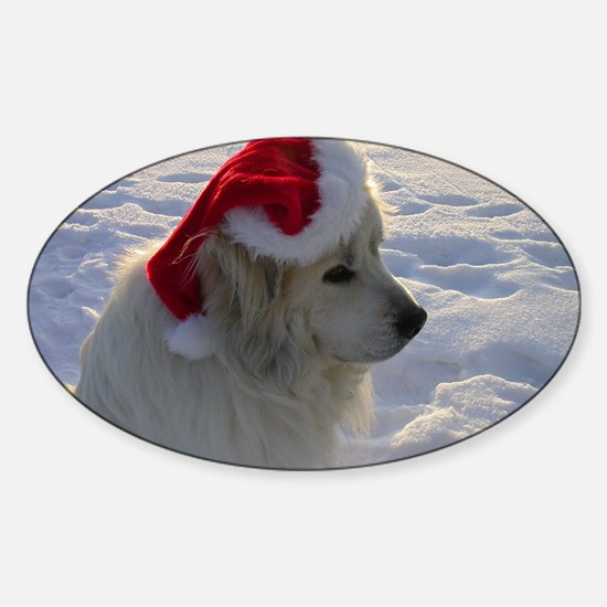 Great Pyrenees with Santa Hat Sticker (Oval)