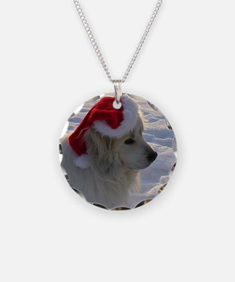 Great Pyrenees with Santa Ha Necklace