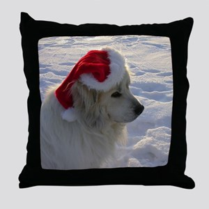 Great Pyrenees with Santa Hat Throw Pillow