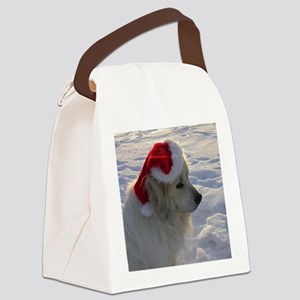 Great Pyrenees with Santa Hat Canvas Lunch Bag
