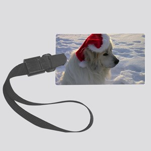 Great Pyrenees with Santa Hat Large Luggage Tag