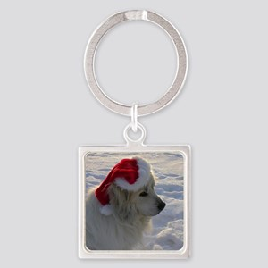 Great Pyrenees with Santa Hat Square Keychain