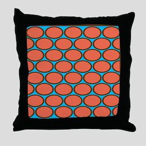 Brown Rings Orange Ovals Throw Pillow
