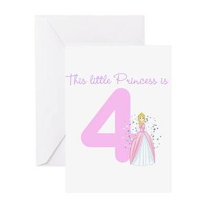 4th birthday princess greeting cards cafepress m4hsunfo