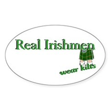 Real Irish Men Wear Kilts Oval Sticker