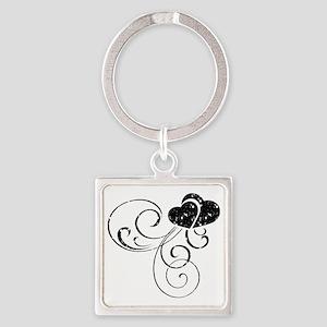 Black Glitter Heart Square Keychain