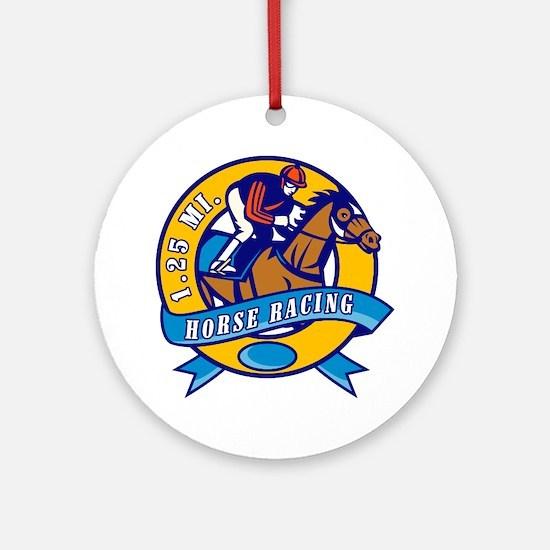horse jockey race racing circle Round Ornament