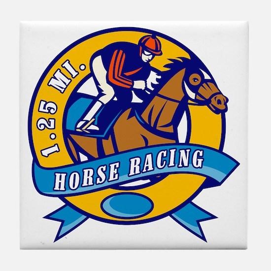horse jockey race racing circle Tile Coaster