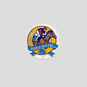 horse jockey race racing circle Mini Button