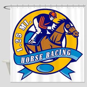 horse jockey race racing circle Shower Curtain