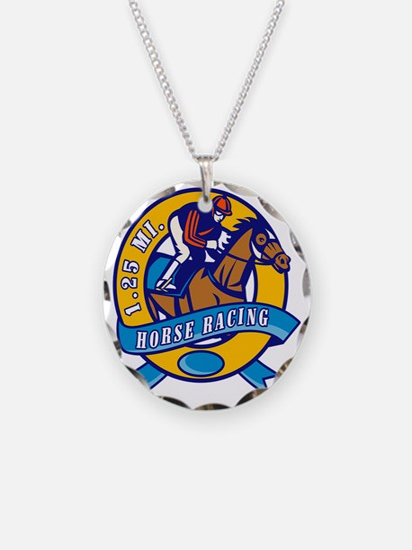 horse jockey race racing cir Necklace