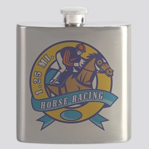 horse jockey race racing circle Flask