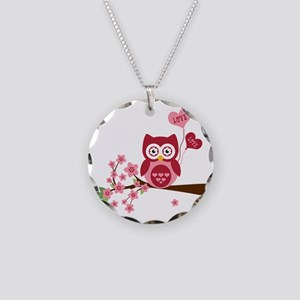 Love You Owl Necklace Circle Charm