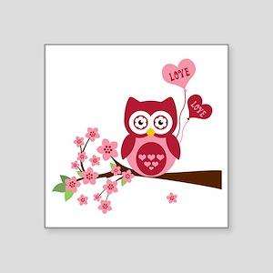 "Love You Owl Square Sticker 3"" x 3"""