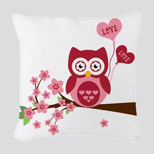 Love You Owl Woven Throw Pillow