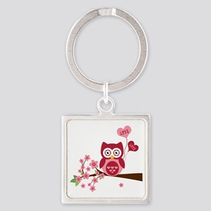 Love You Owl Square Keychain