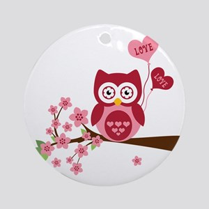 Love You Owl Round Ornament
