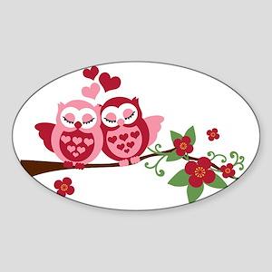 Love Me Owls Sticker (Oval)