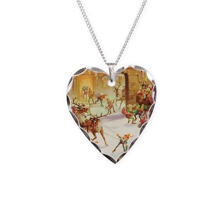 ! SANTA CLAUS 30_SQ3 Elves Necklace Heart Charm