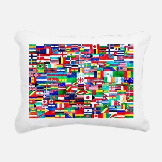 Flag Collage Rectangular Canvas Pillow