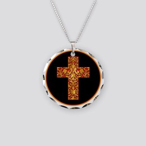 GoldLeafCrossBr Necklace Circle Charm