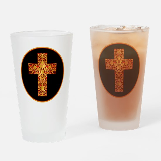 GoldLeafCrossBr Drinking Glass