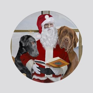 Labs With Santa Naughty Or Nice Gifts Ornament (Ro