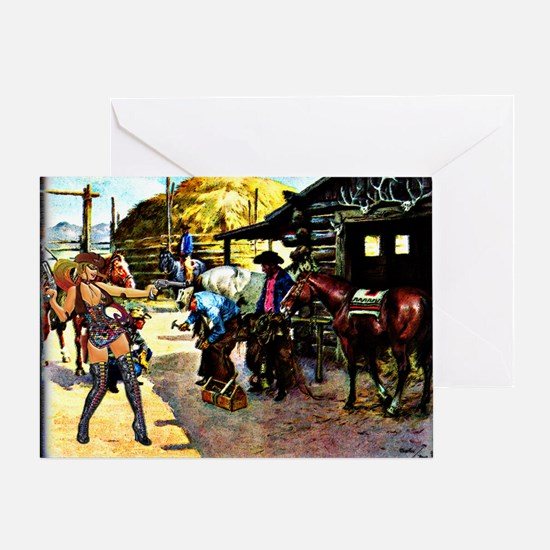 Sexy Cowgirl Cowboys Shoeing Horses  Greeting Card