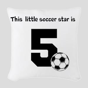 Little Soccer Star Custom Age Woven Throw Pillow
