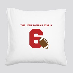 Football Star Custom Age Square Canvas Pillow
