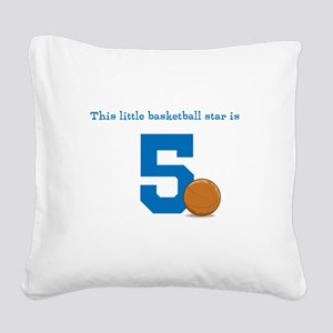 Basketball Star Custom Age Square Canvas Pillow