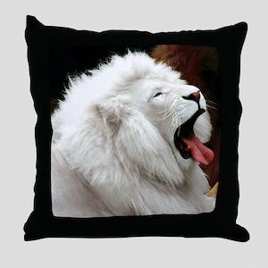 White Lion mousepad Throw Pillow