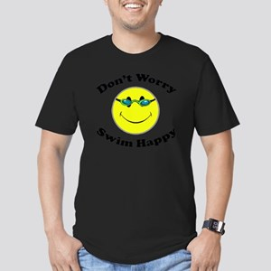 Don't Worry Swim Happy Men's Fitted T-Shirt (dark)