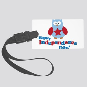 Happy Independence Day Owl Large Luggage Tag