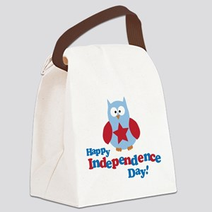 Happy Independence Day Owl Canvas Lunch Bag