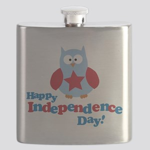 Happy Independence Day Owl Flask
