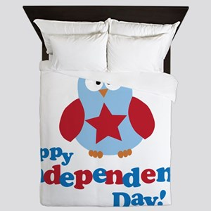 Happy Independence Day Owl Queen Duvet