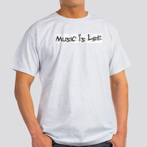 Music Is Life Ash Grey T-Shirt