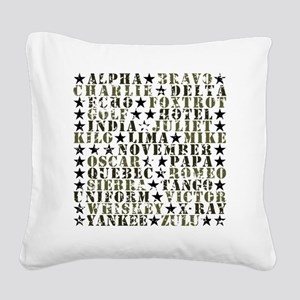 CamoABCs Square Canvas Pillow