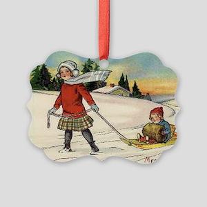 Sledding Picture Ornament